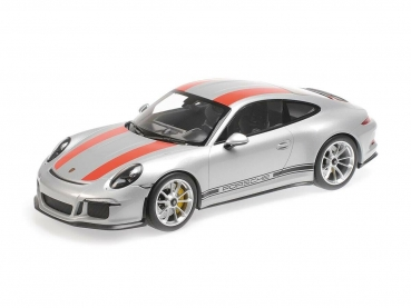 Minichamps 125066321 PORSCHE 911 R silver with red-black Decals 2016 1:12 Modelcar