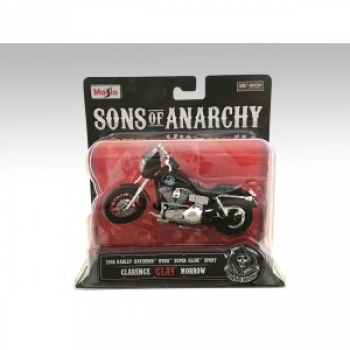 "Maisto Motorrad Harley Davidson 2008 Dyna Super Glide Sport Feature SOA Clarence ""Clay"" Morrow 1:18 American Diorama"