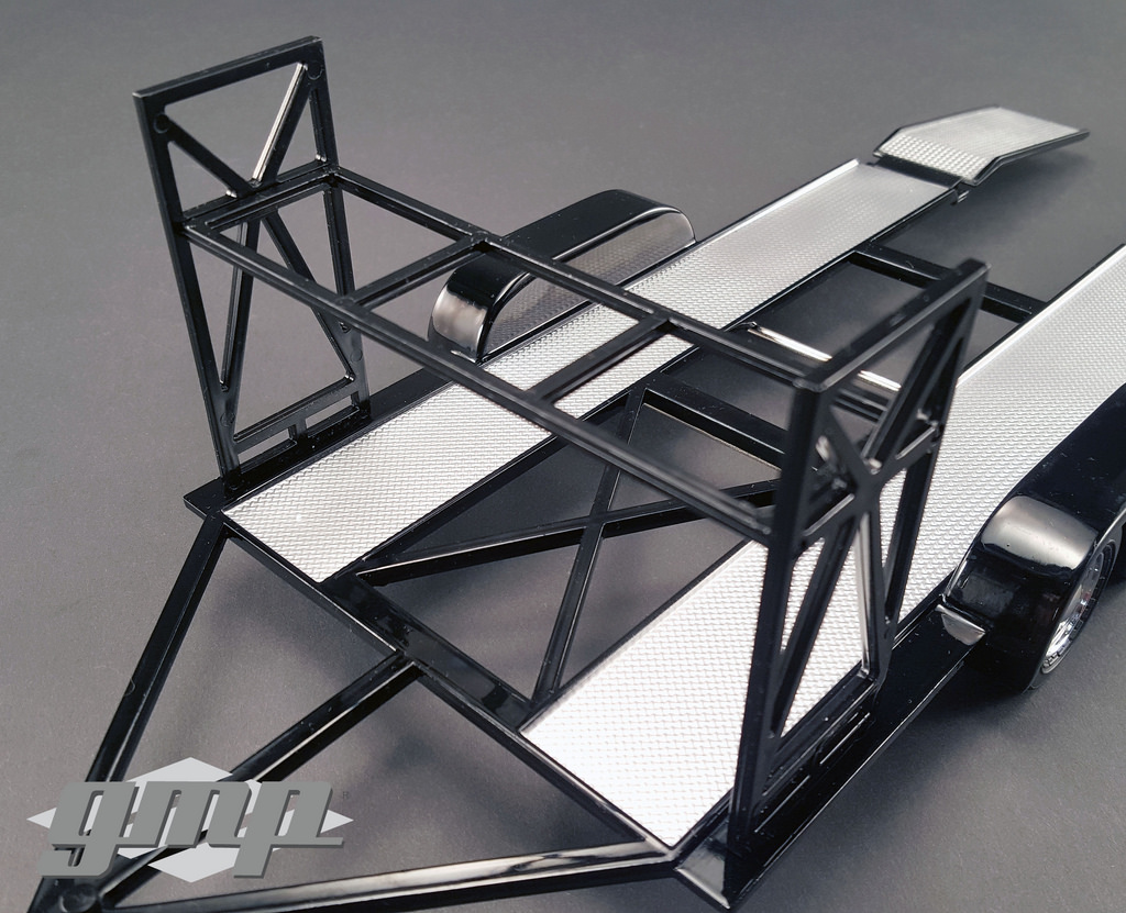 TANDEM CAR TRAILER W// TIRE RACK BLACK 1//18 SCALE DIECAST MODEL BY GMP 18820